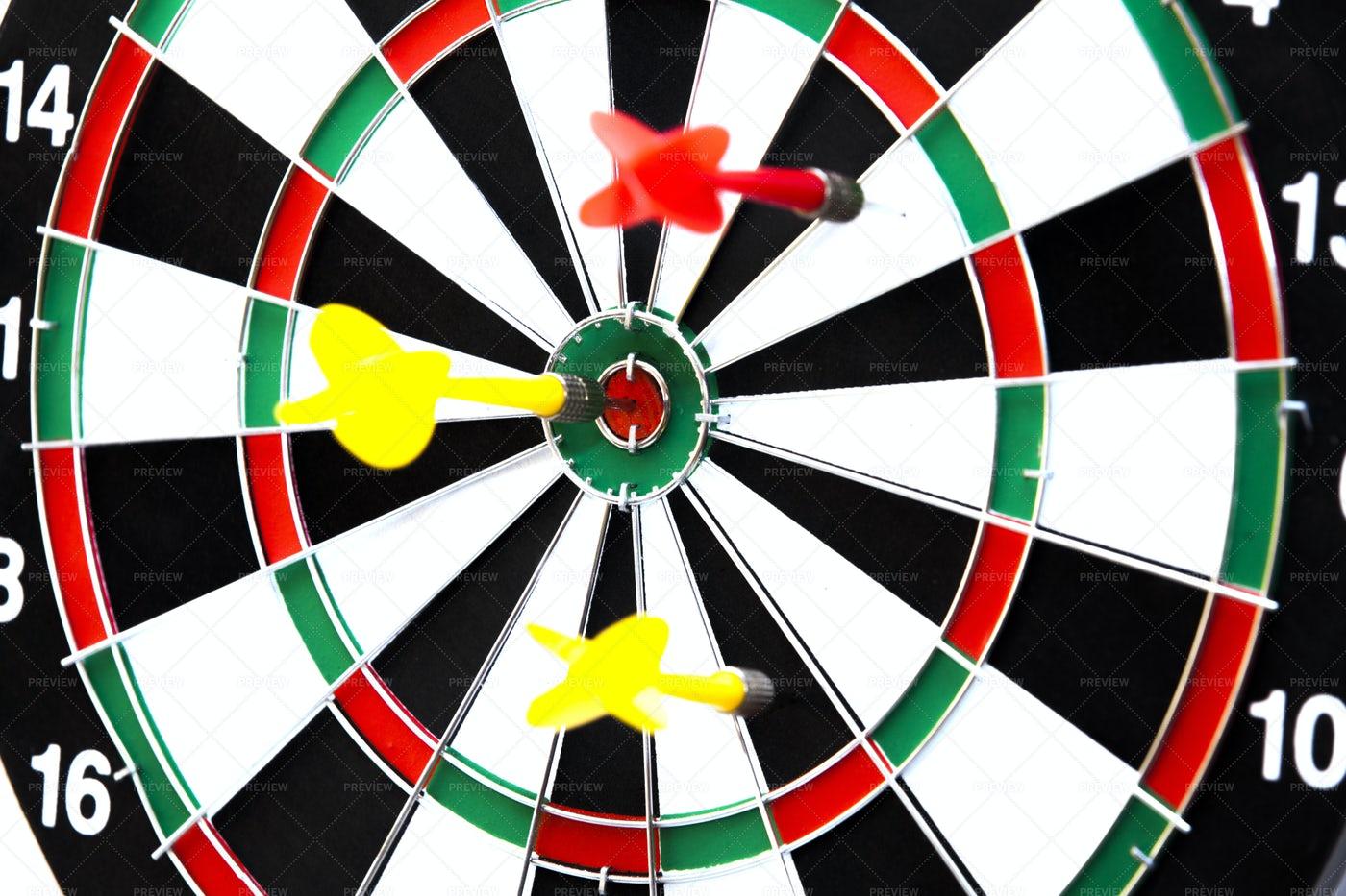 Darts On Board: Stock Photos