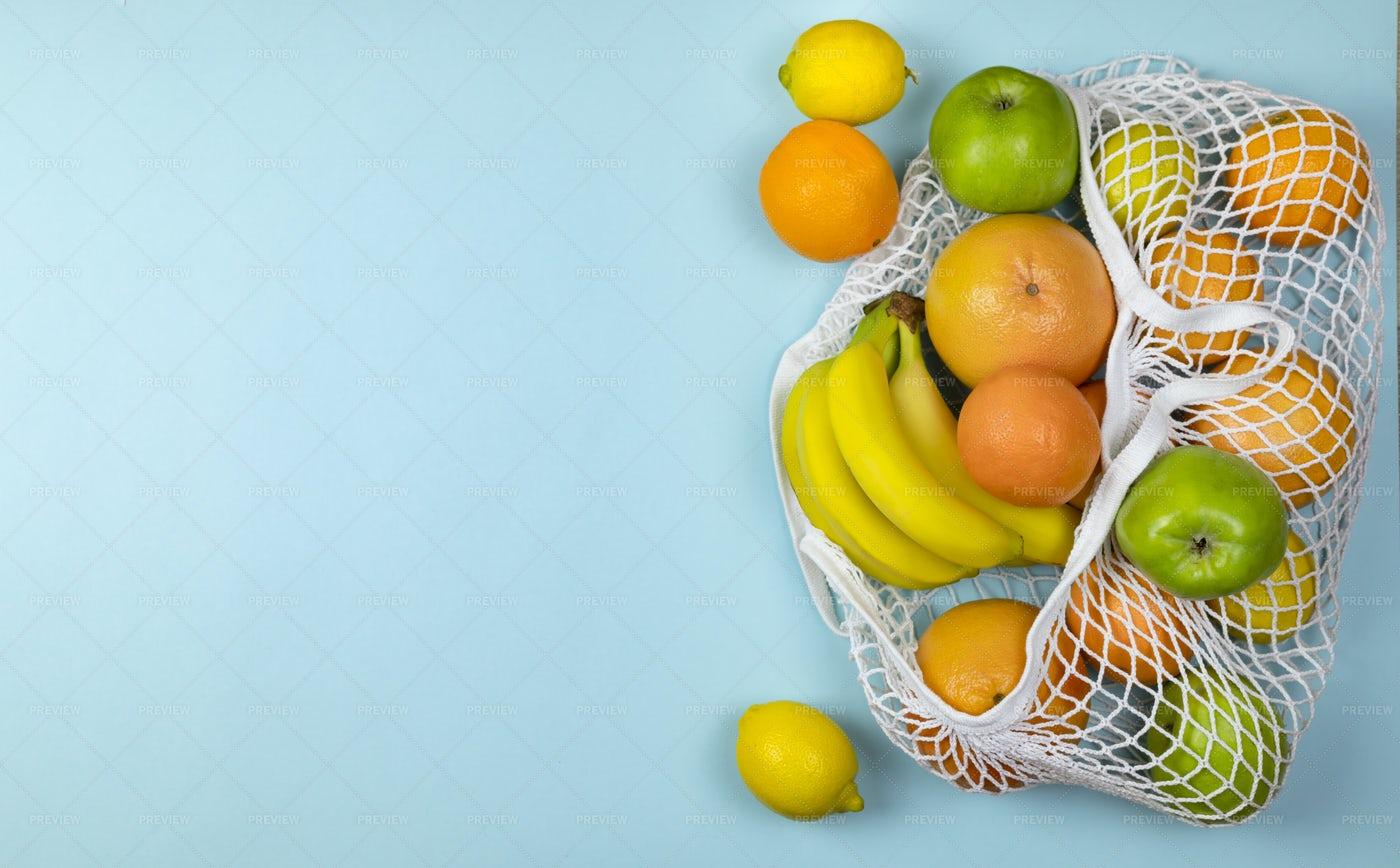 String Bag With Fruit: Stock Photos