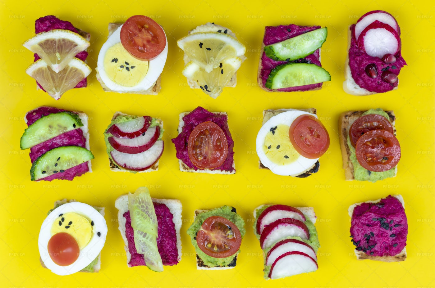 Sandwiches With Hummus: Stock Photos
