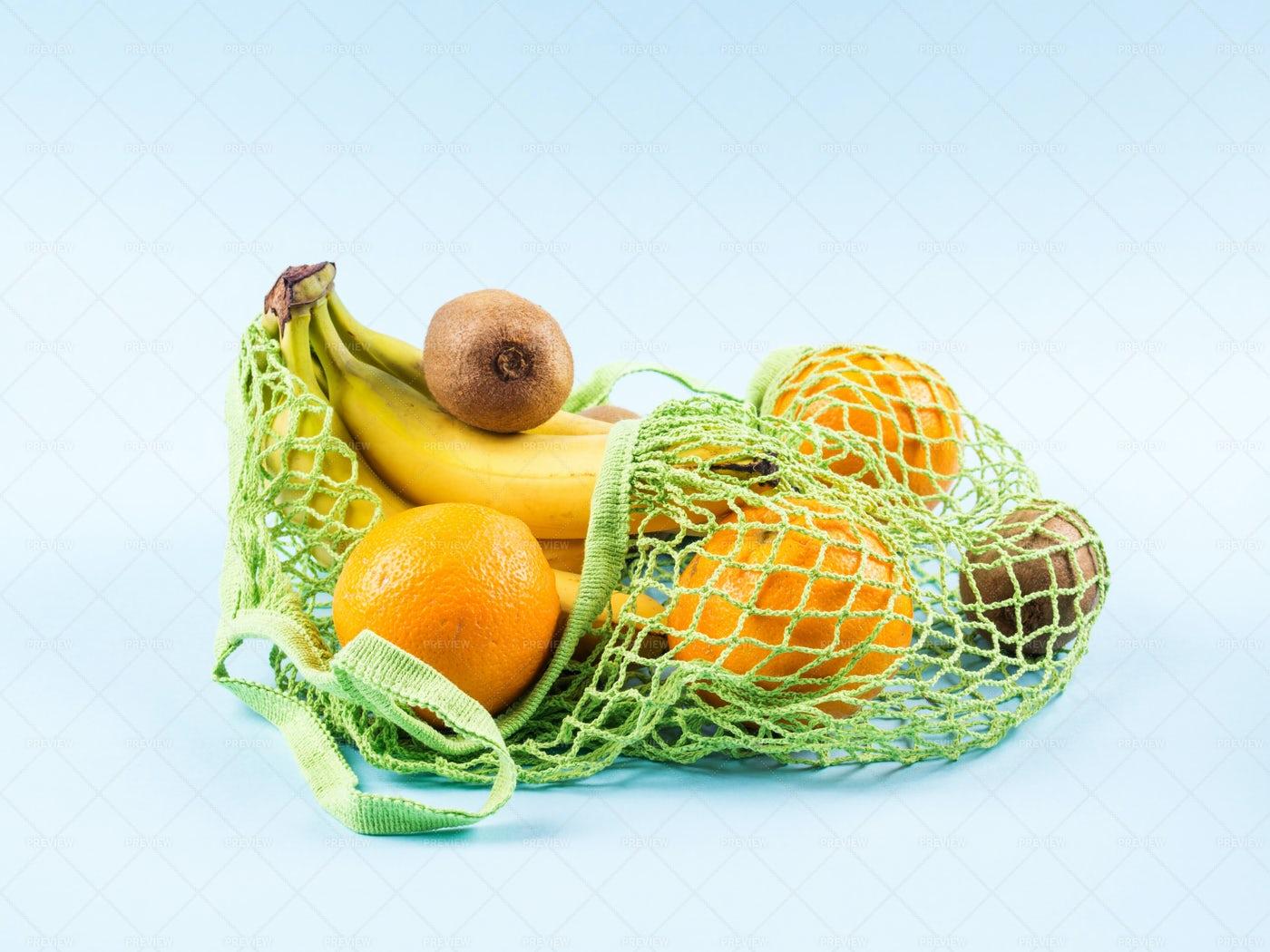 Fruit In A Mesh Bag: Stock Photos