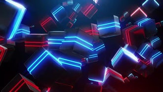 Abstract Blue And Red Neon Squares: Motion Graphics