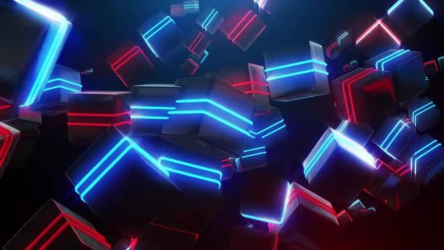 Abstract Blue And Red Neon Squares: Stock Motion Graphics