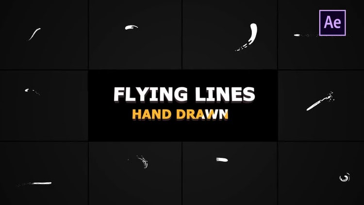 Hand Drawn Flying Lines: After Effects Templates