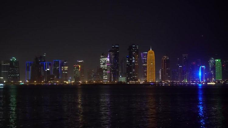 Doha At Night: Stock Video