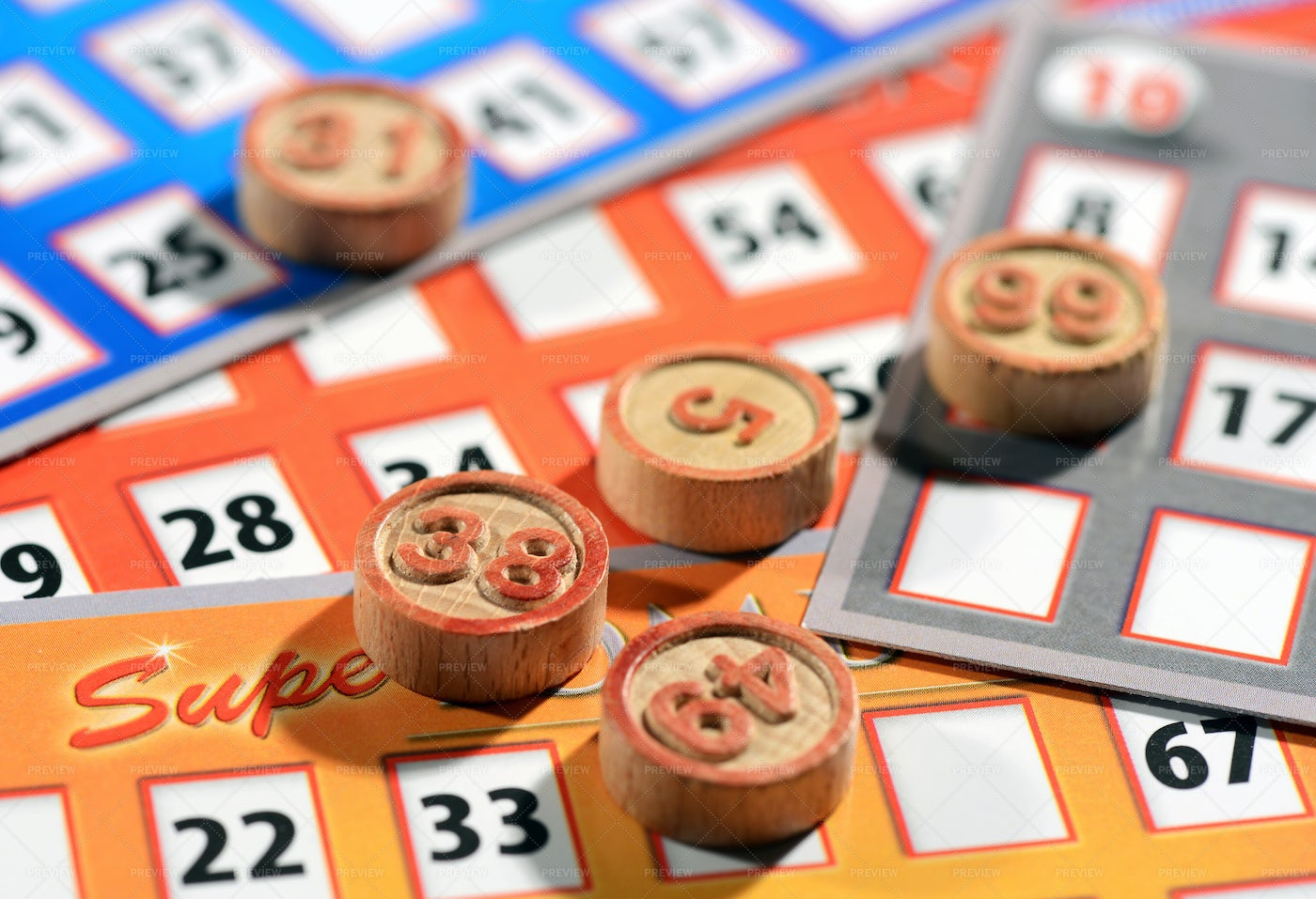 Bingo Cards And Numbers: Stock Photos