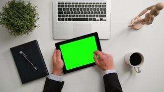 Man Holding An iPad With Green Screen: Stock Video