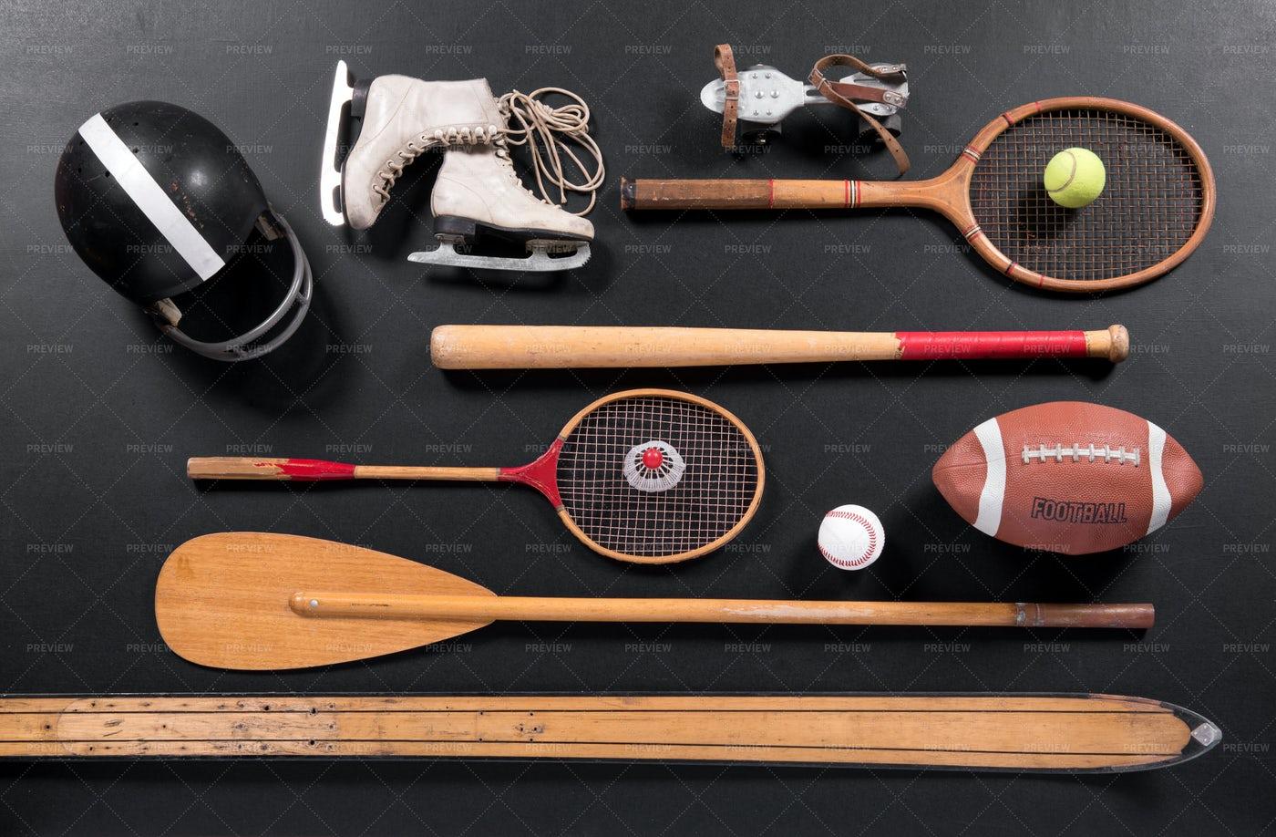 Vintage Sports Equipment: Stock Photos