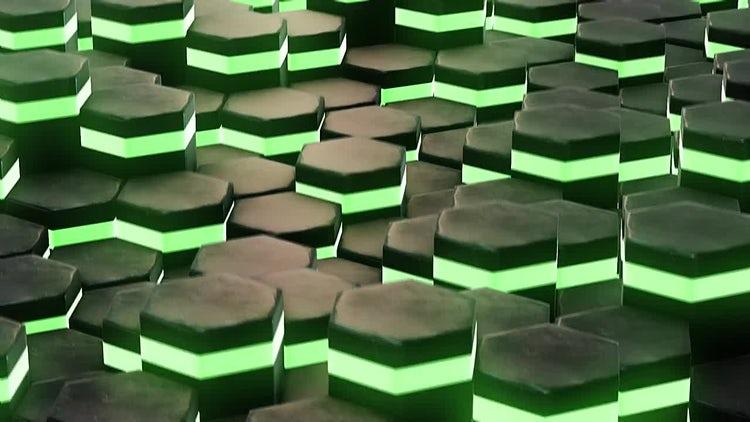 Neon Green Hexagons: Motion Graphics
