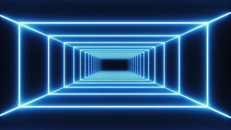 Blue Neon Tunnel: Stock Motion Graphics