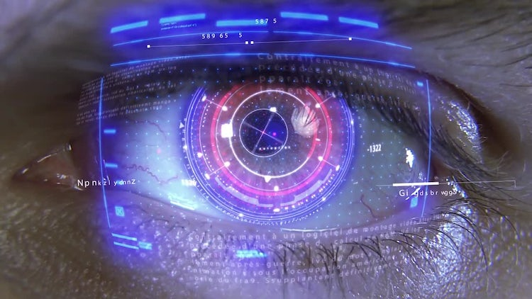 Eye With Holograms: Stock Motion Graphics