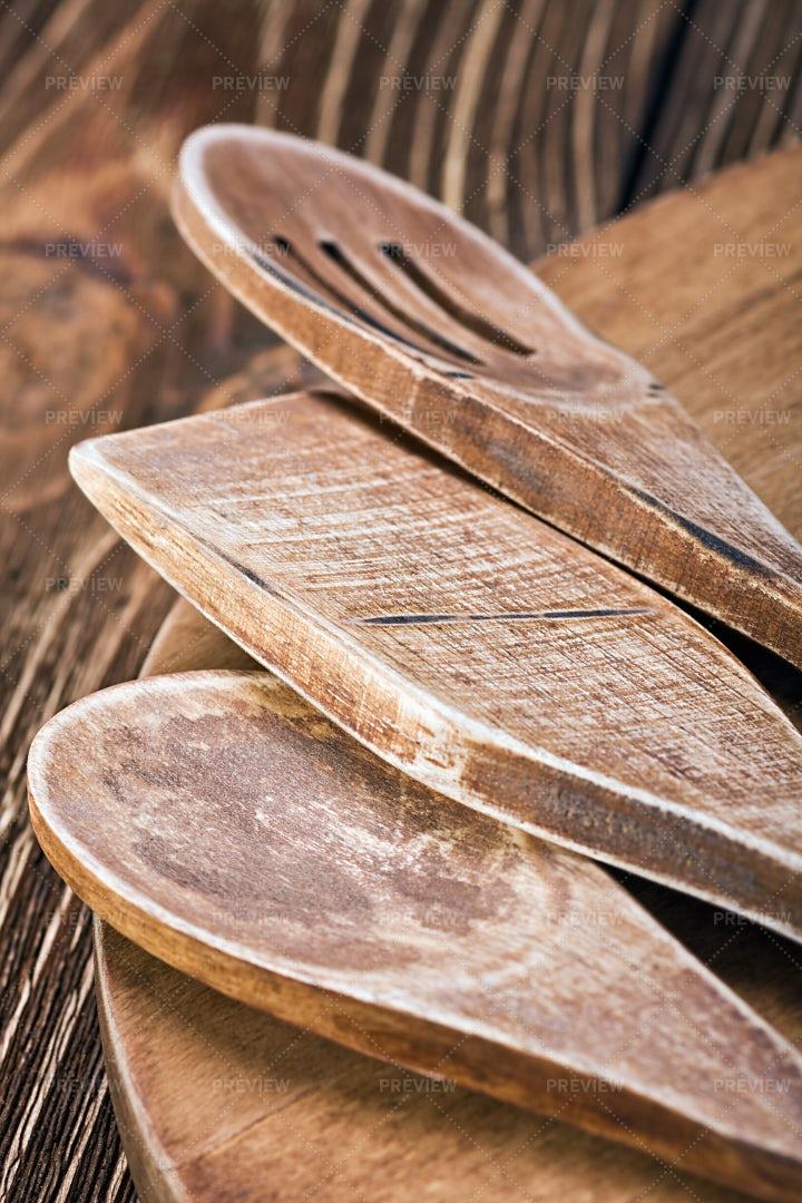 Wooden Kitchen Utensils: Stock Photos