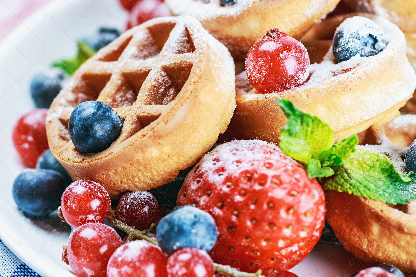 Waffles With Fresh Strawberries: Stock Photos