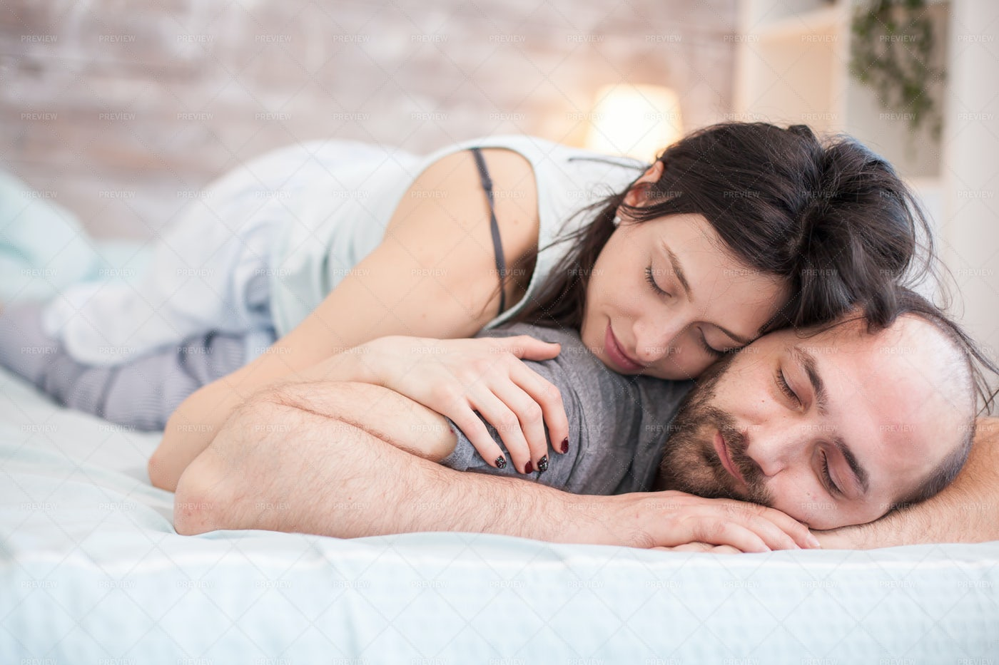 Woman Sleeping On Boyfriend - Stock Photos | Motion Array