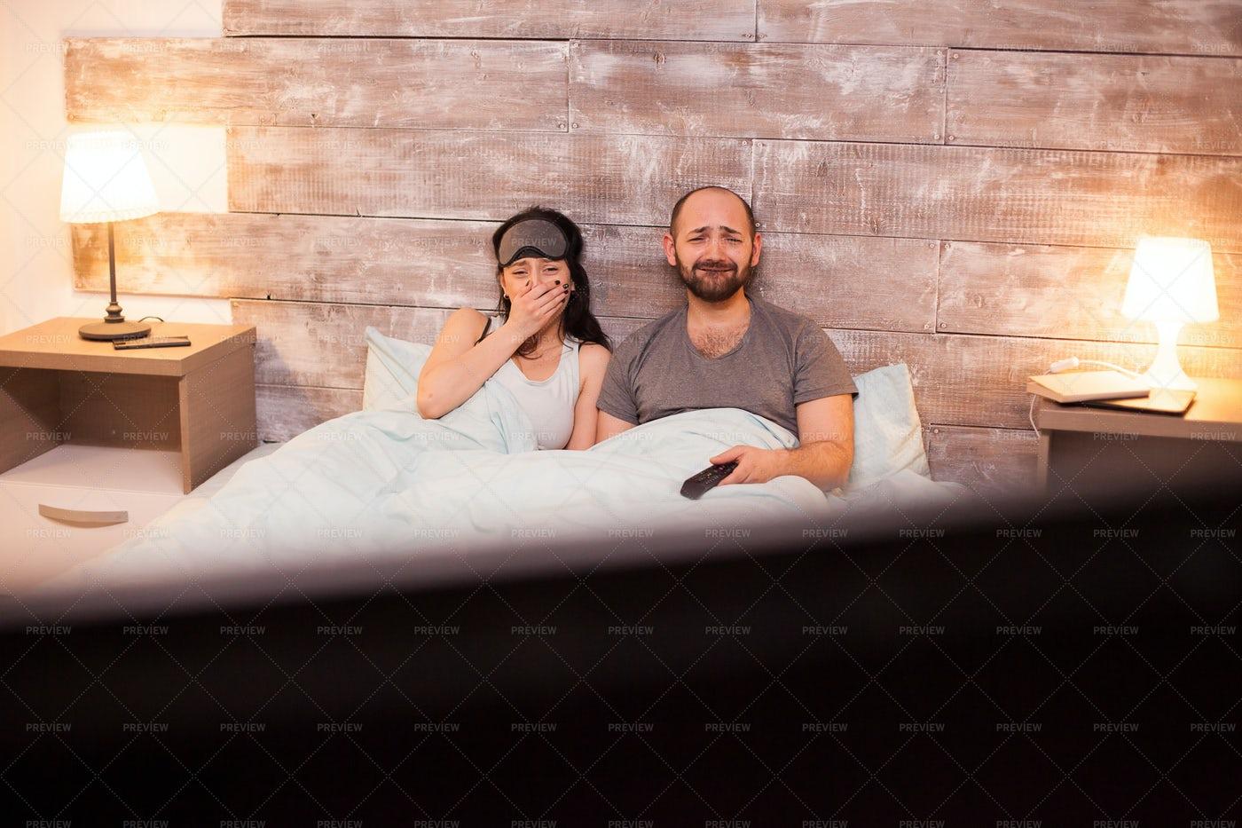 Emotional Couple In Pajamas: Stock Photos