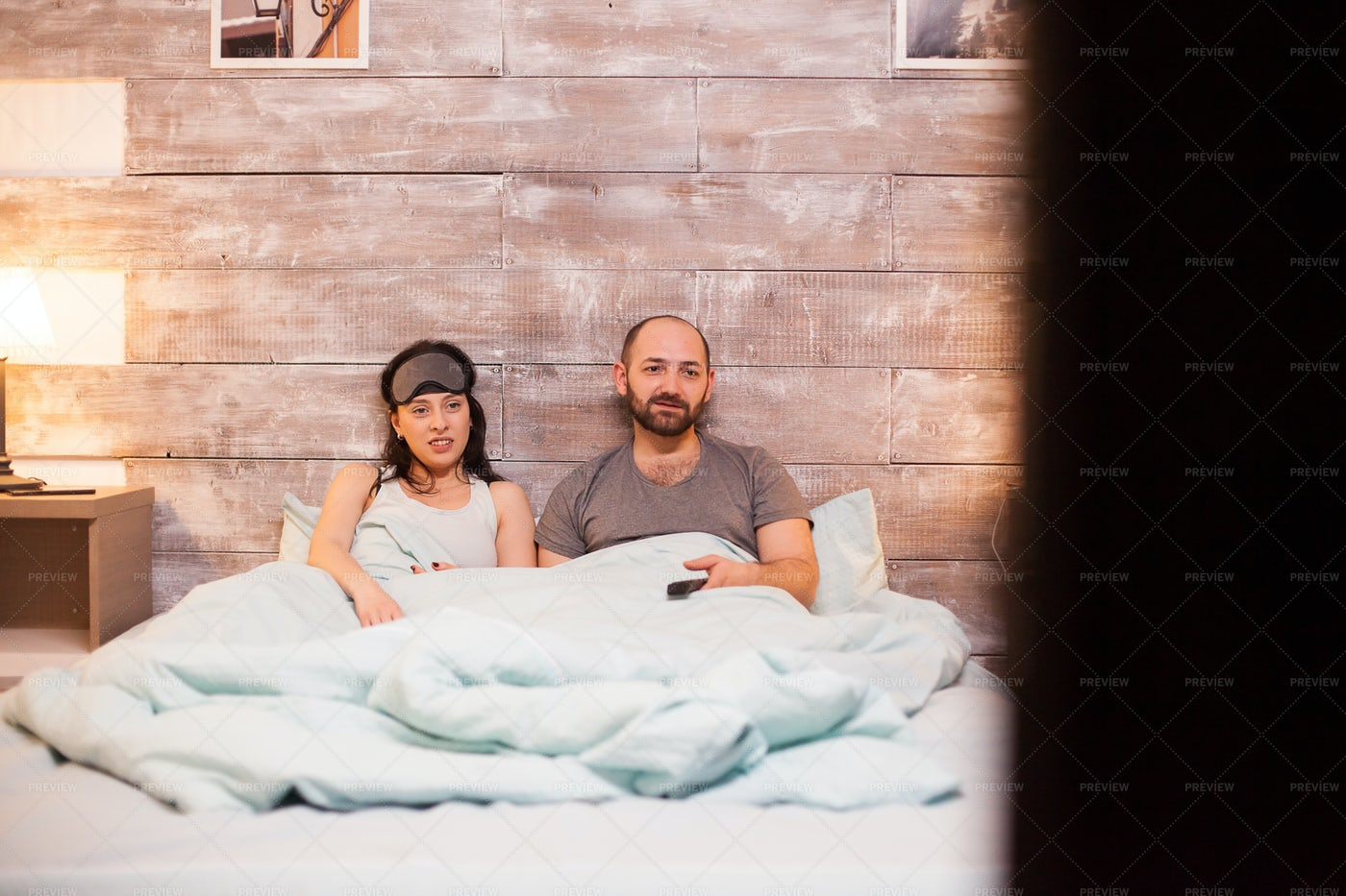 Laying Confortable In Bed: Stock Photos