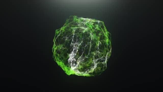 Green Abstract Virus Ball: Stock Motion Graphics