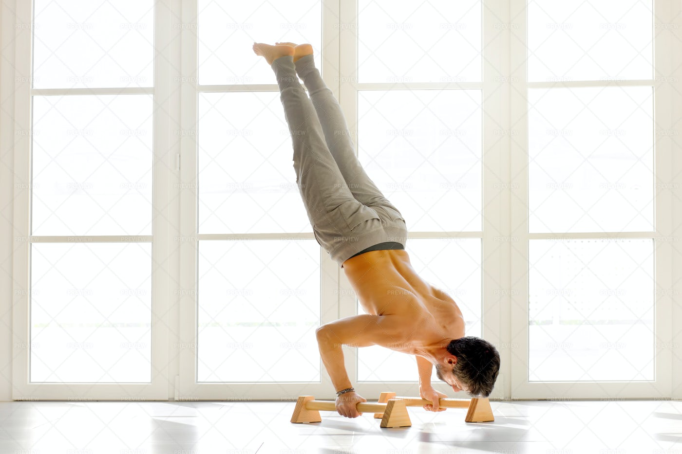 Handstand Push Ups On Bars: Stock Photos
