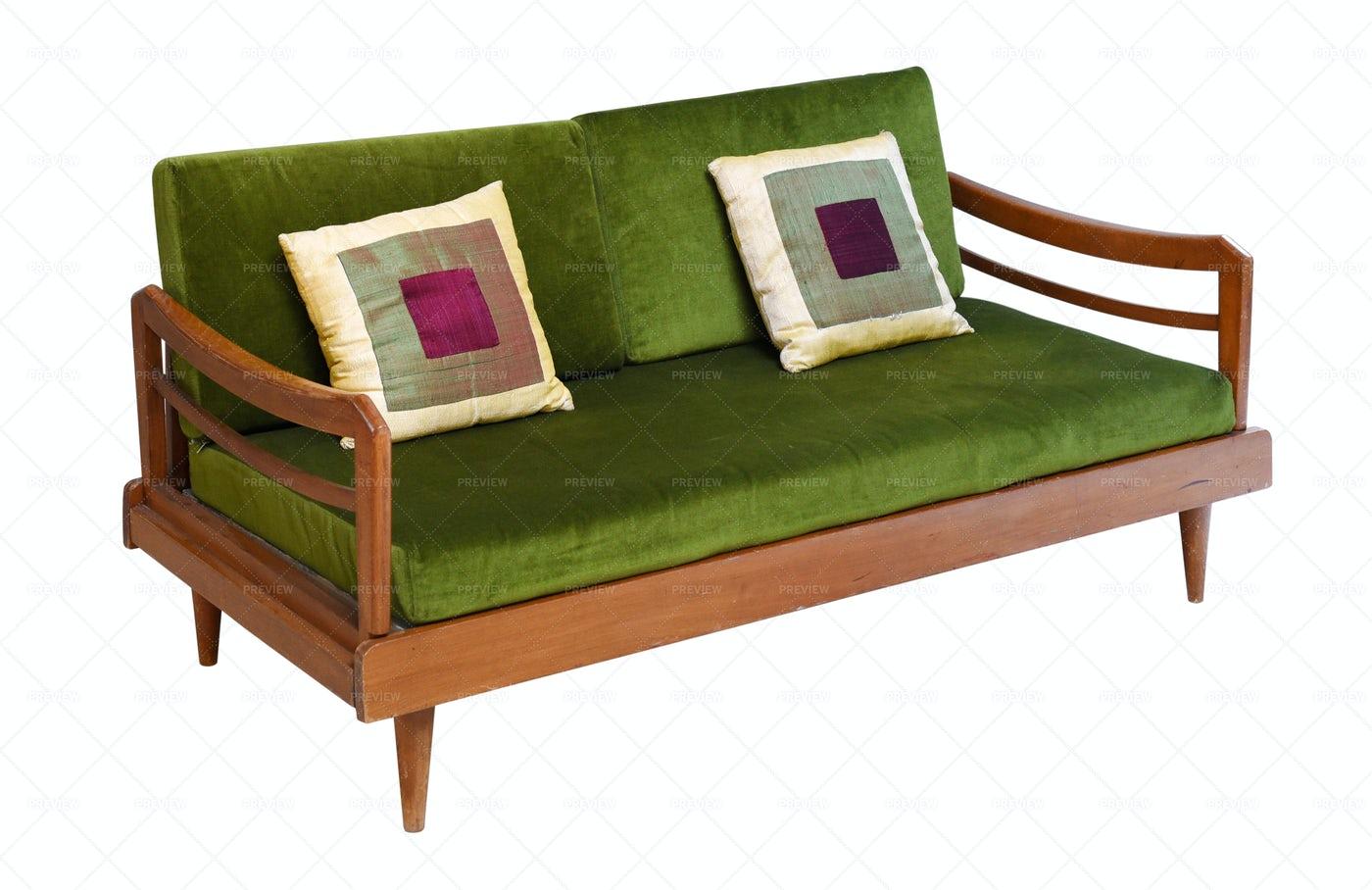 Green Velvet Sofa: Stock Photos