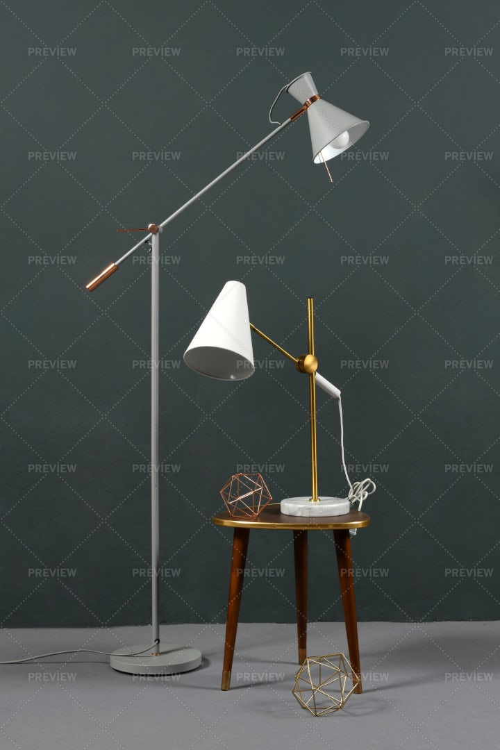 Two Vintage Anglepoise Lamps: Stock Photos