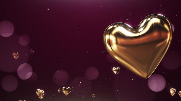 Flying Golden Hearts: Motion Graphics