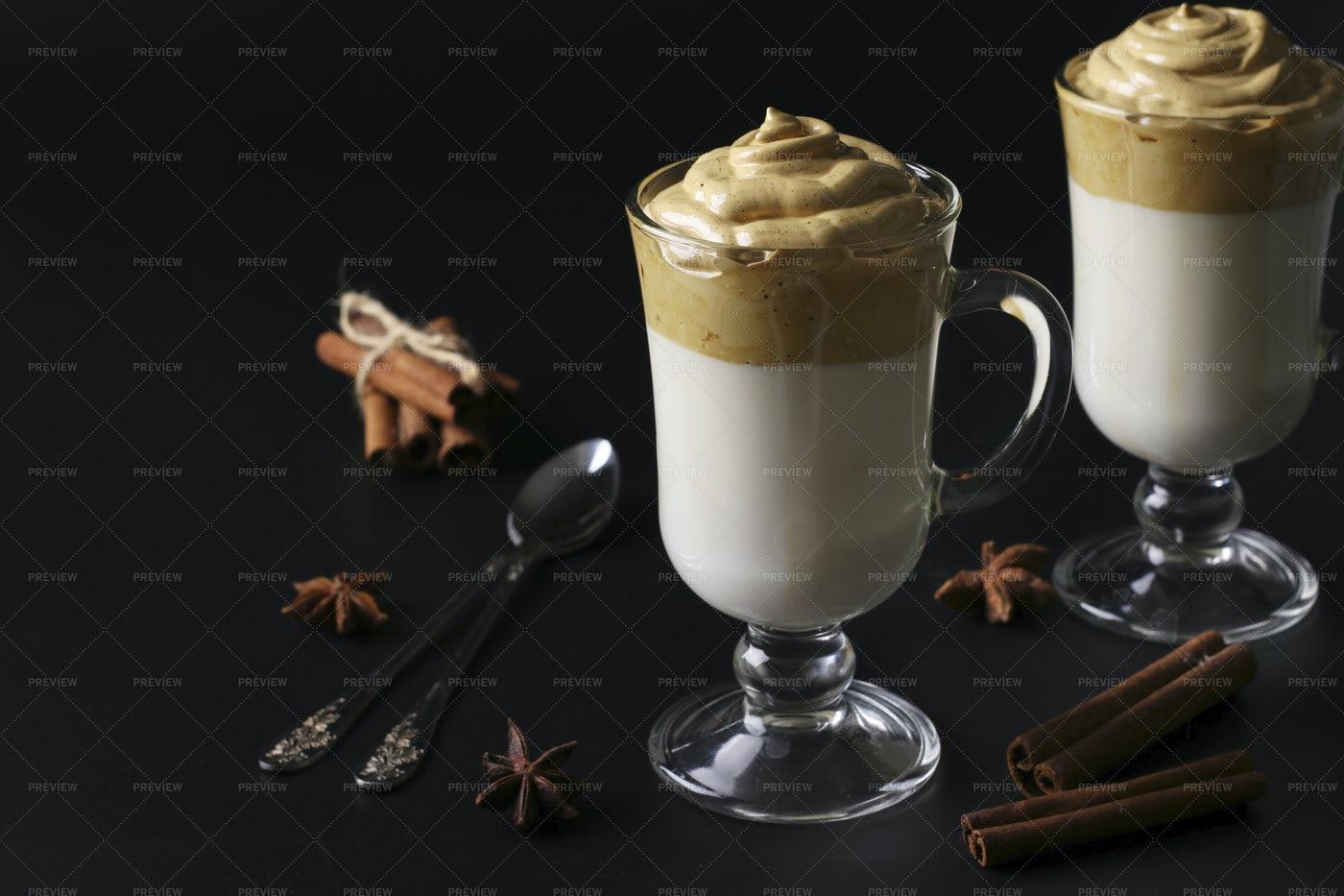 Creamy Coffee In Glasses: Stock Photos