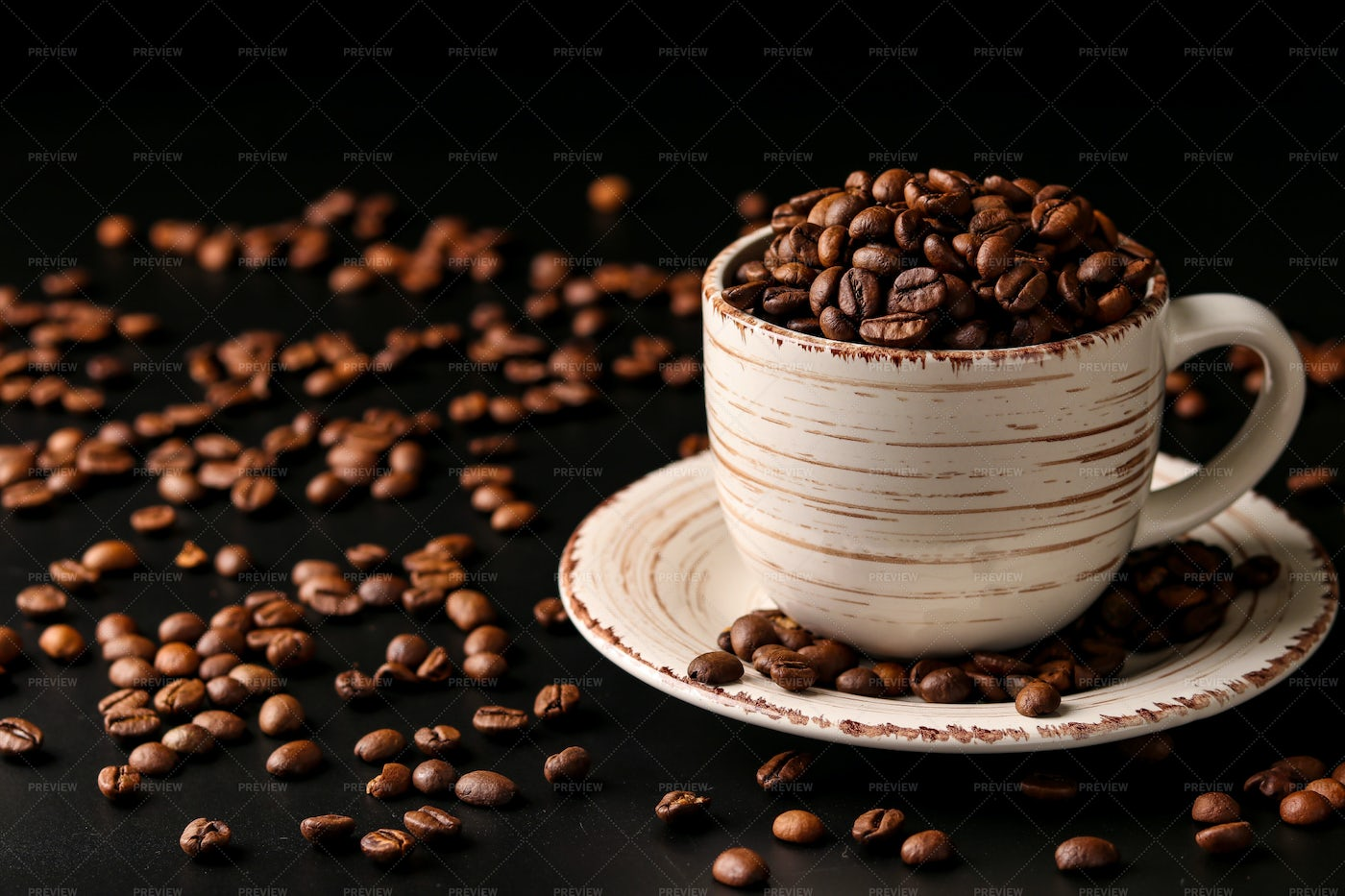Coffee Beans In Cup: Stock Photos