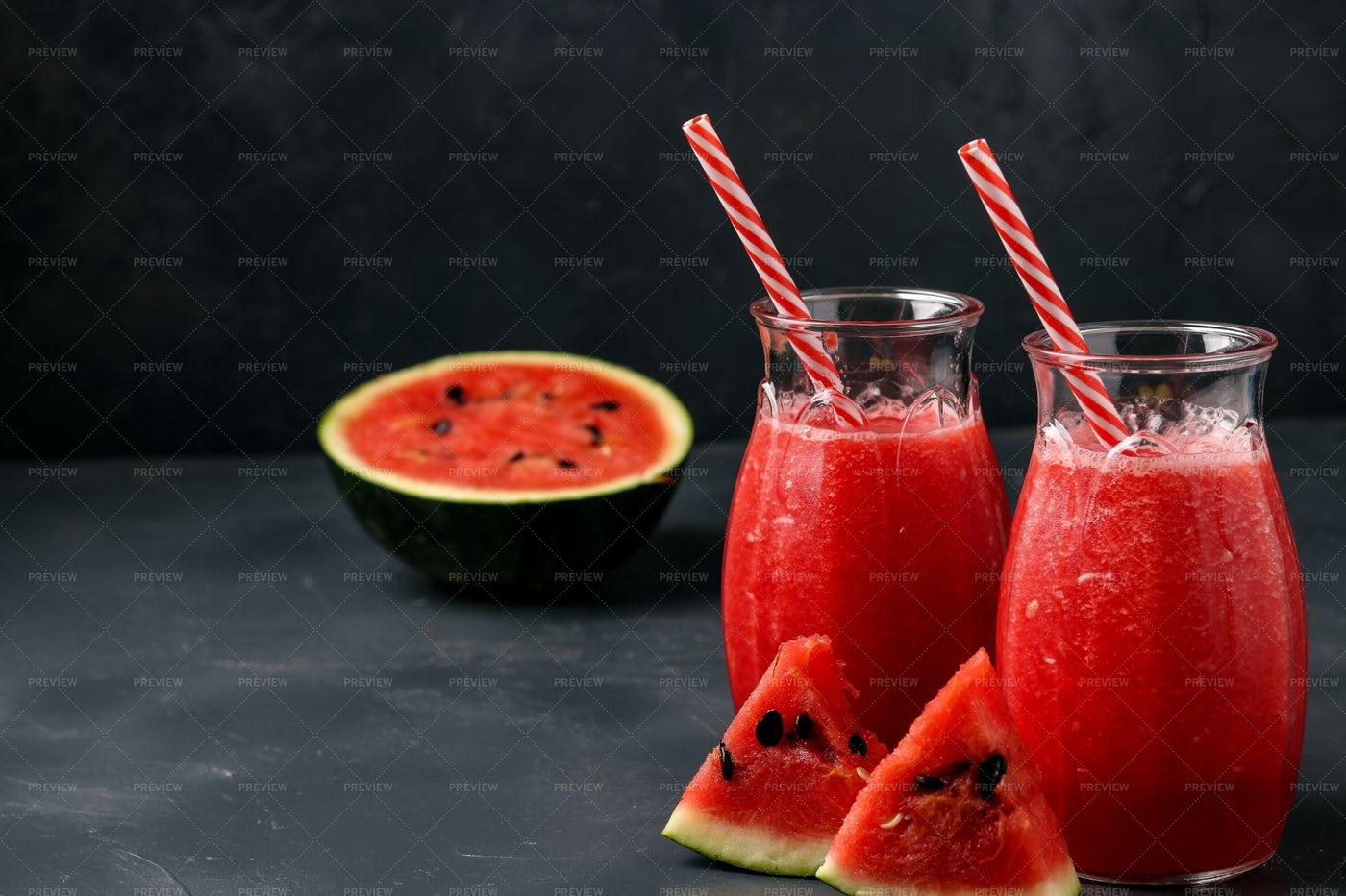 Watermelon Juice In Jars: Stock Photos