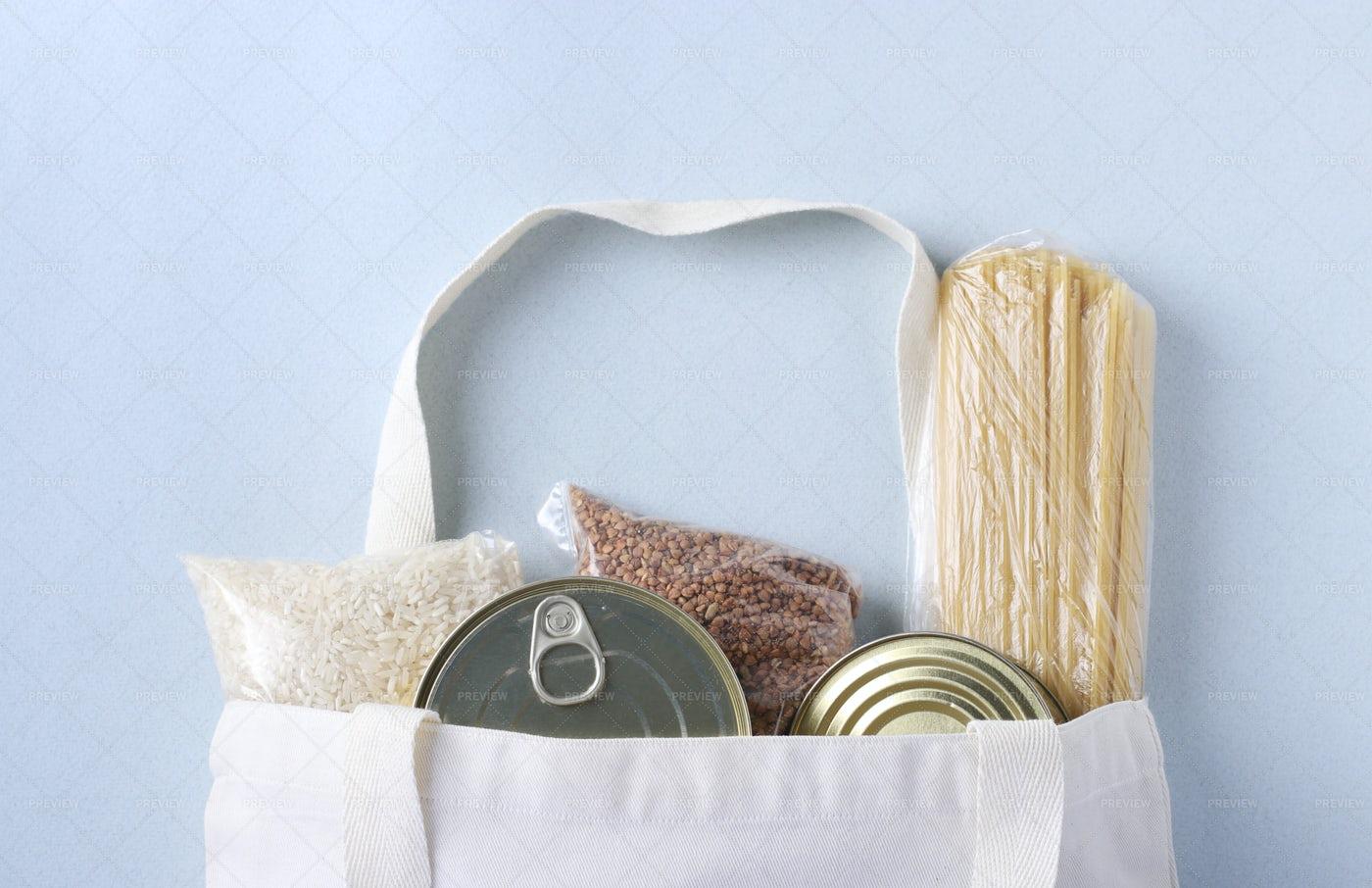 Bag Of Food Essentials: Stock Photos