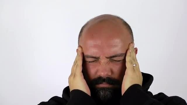 Man Has Headache Pain: Stock Video