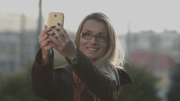 Woman Taking Picture Of Herself : Stock Video
