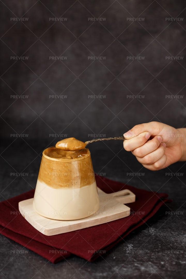 Homemade Dalgona Coffee: Stock Photos