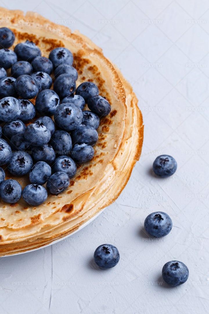 Thin Pancakes With Blueberries: Stock Photos
