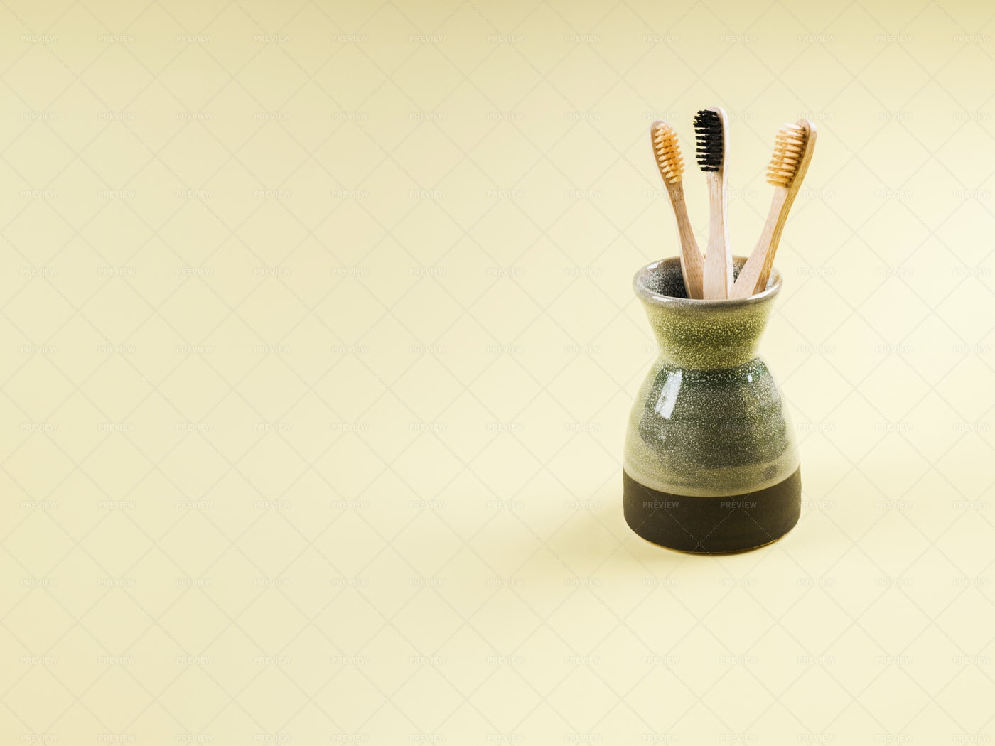 Zero Waste Bamboo Toothbrushes: Stock Photos