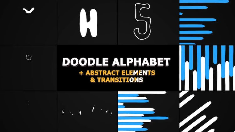 Doodle Alphabet And Transitions: Stock Motion Graphics