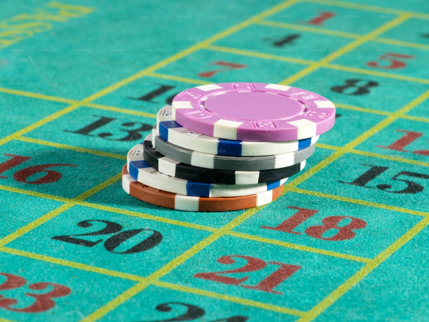 Casino Chips On Roulette Board: Stock Photos