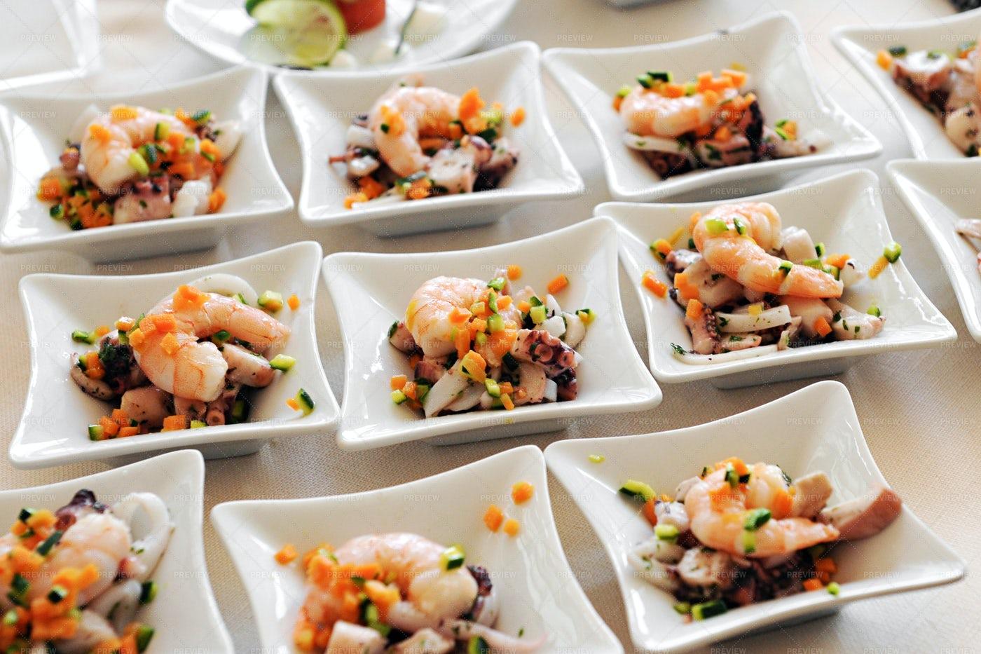 Individual Seafood Starters: Stock Photos