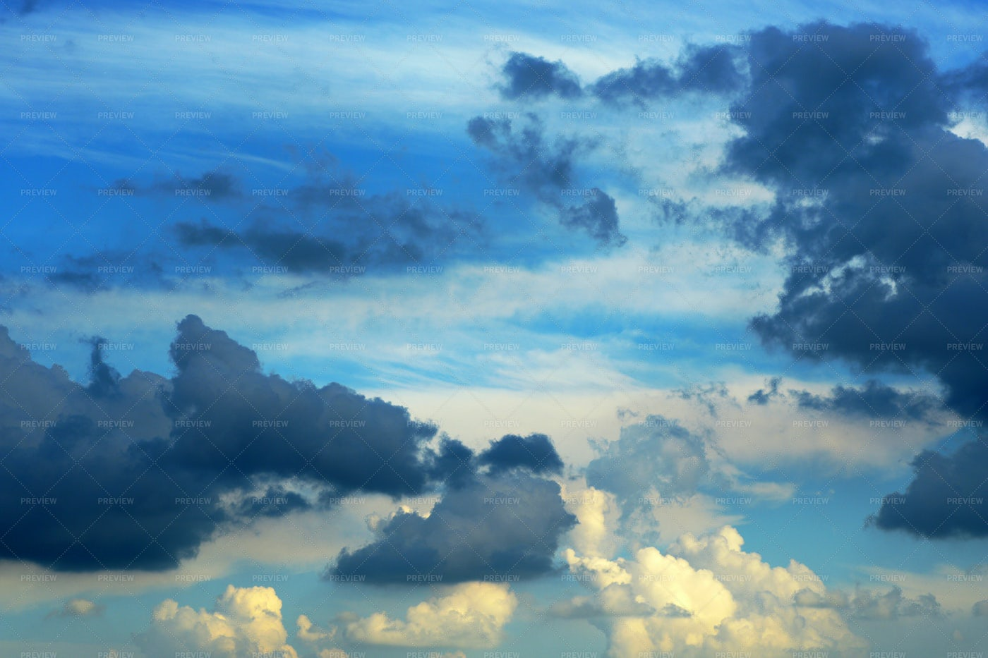 Cloudy Sky At Sunset: Stock Photos