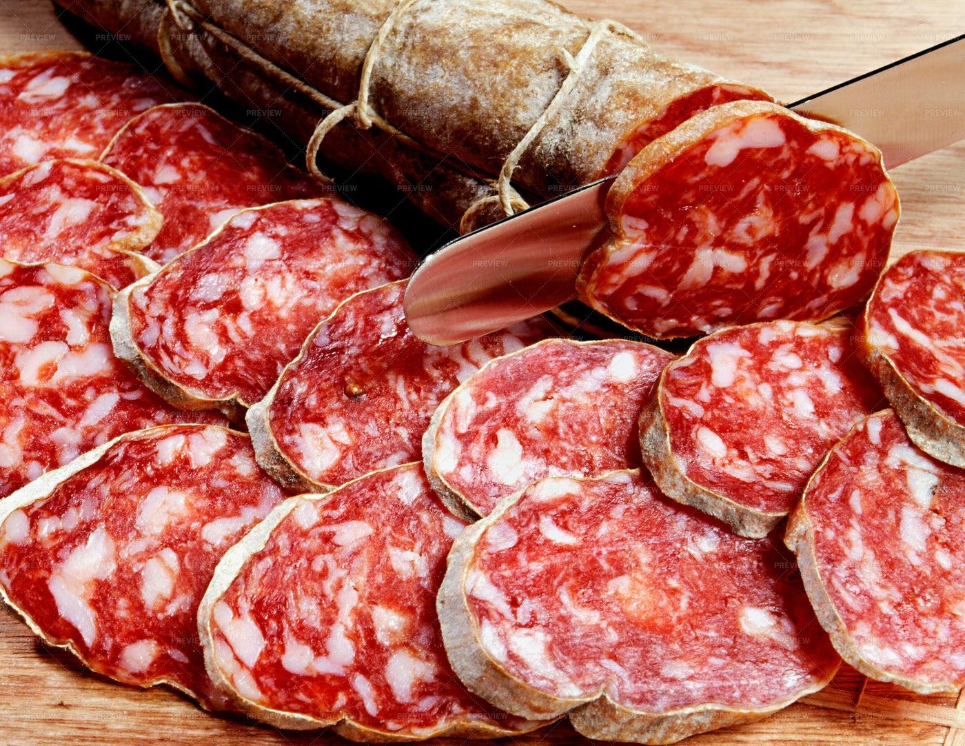 Sliced Fresh Salami: Stock Photos