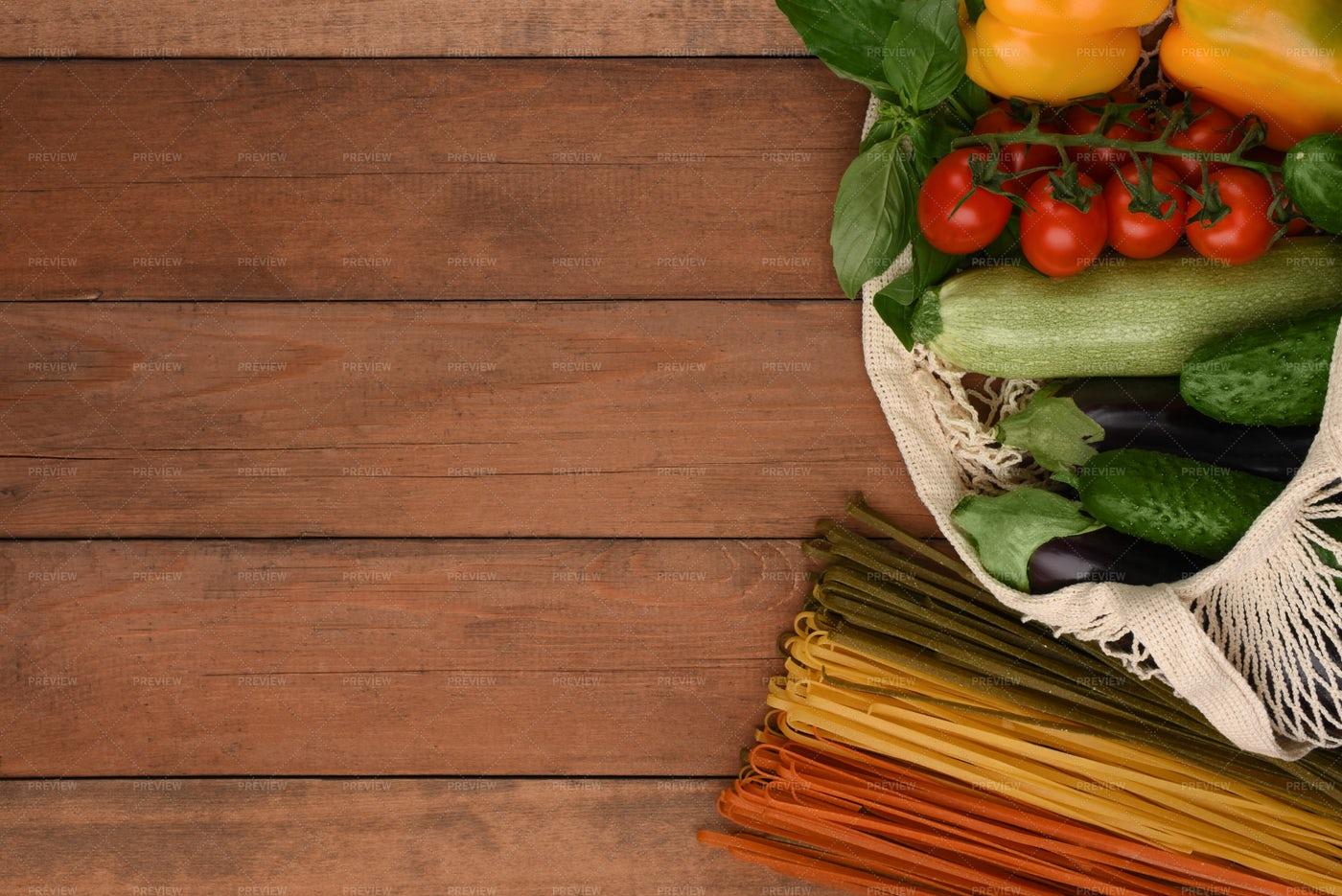 Mesh Bag With Food: Stock Photos