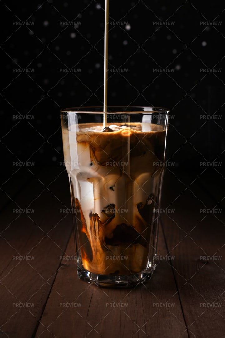 Coffee With Cream Pouring: Stock Photos