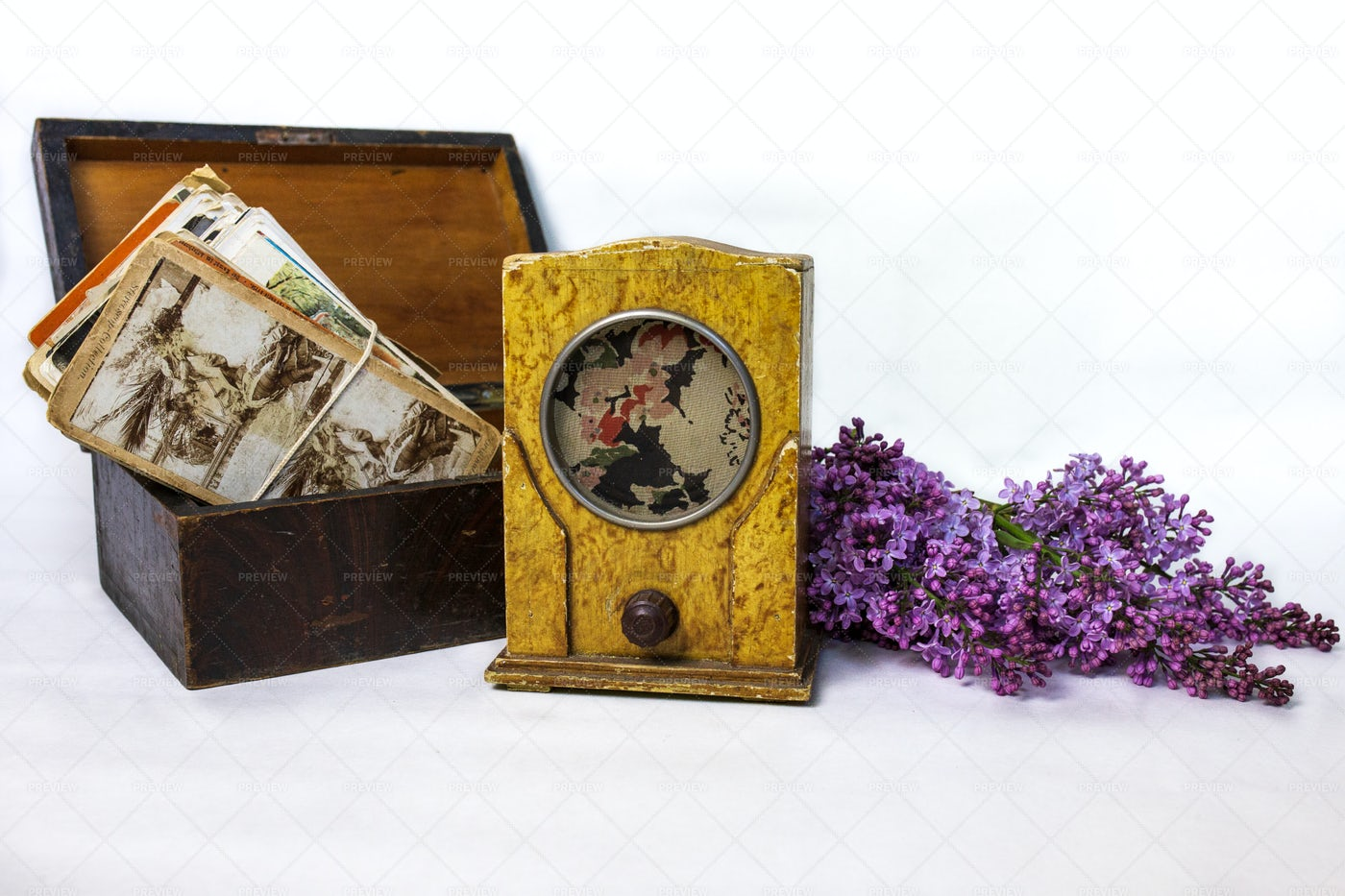 Retro Radio, Cards And Lilac: Stock Photos