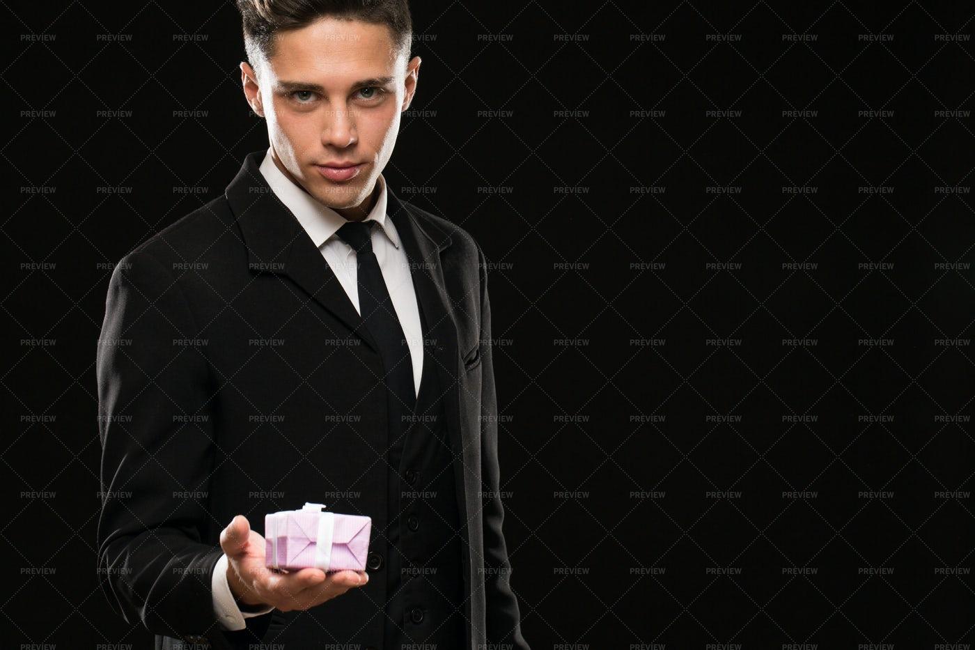 Man Holding A Gift Box: Stock Photos