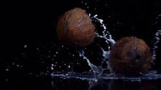 Coconut Broken In Slow Motion On Black BG: Stock Video