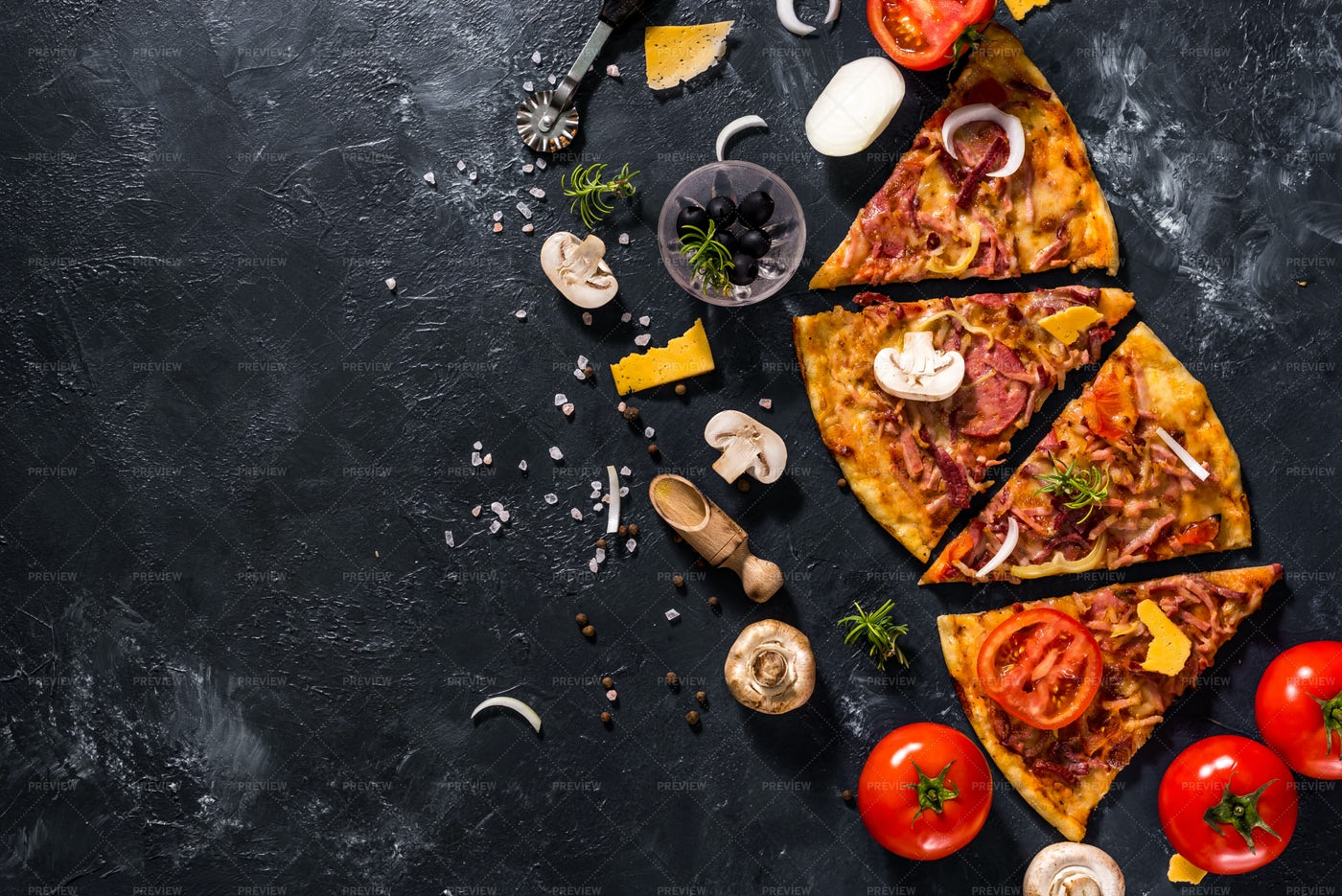 Pizza Slices And Ingredients: Stock Photos