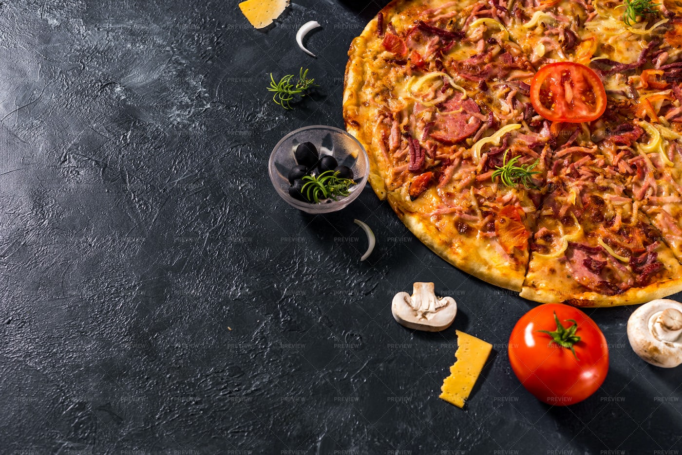 Pizza And Ingredients: Stock Photos