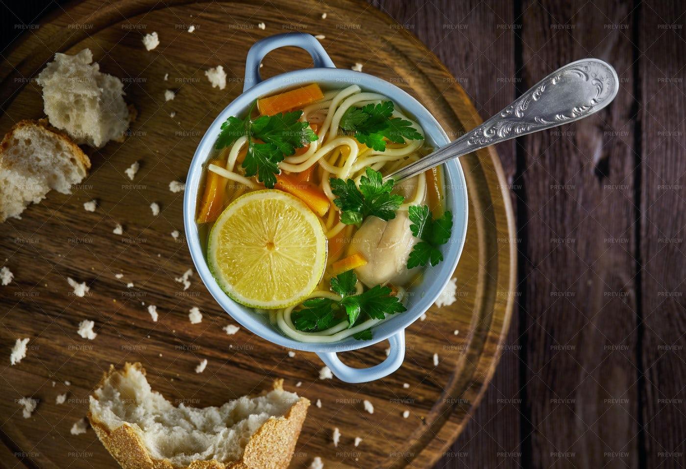 Spaghetti And Carrot Soup: Stock Photos