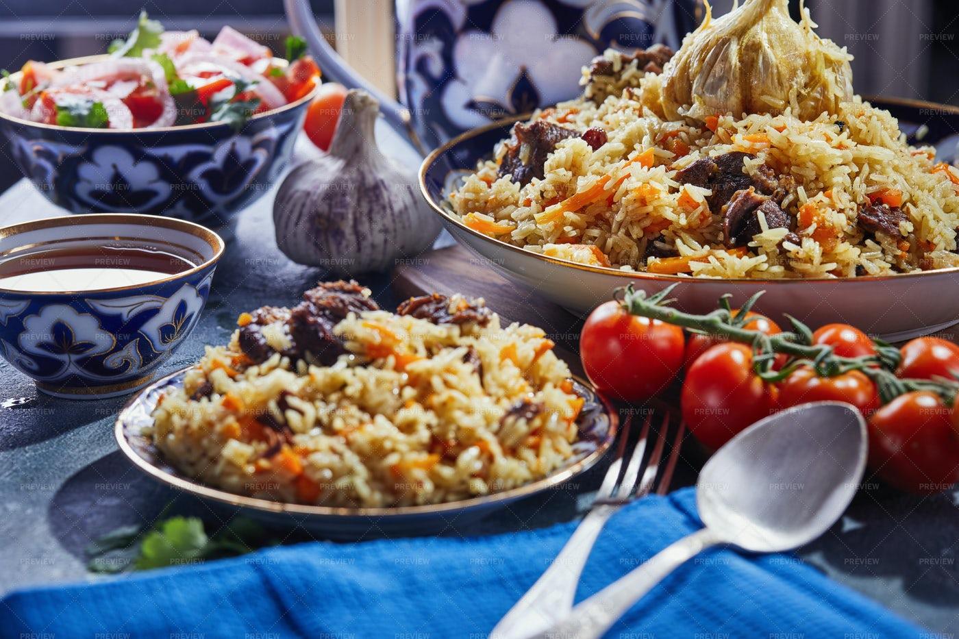 Uzbek Pilaf Dish: Stock Photos