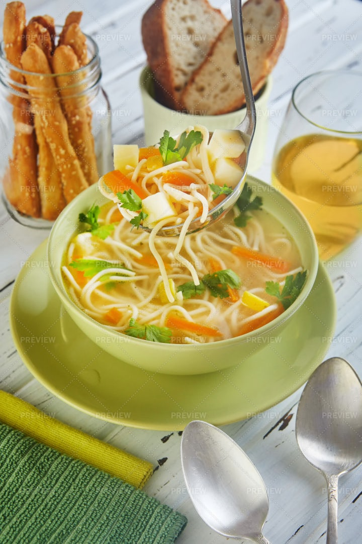 Italian Soup With Spaghetti: Stock Photos