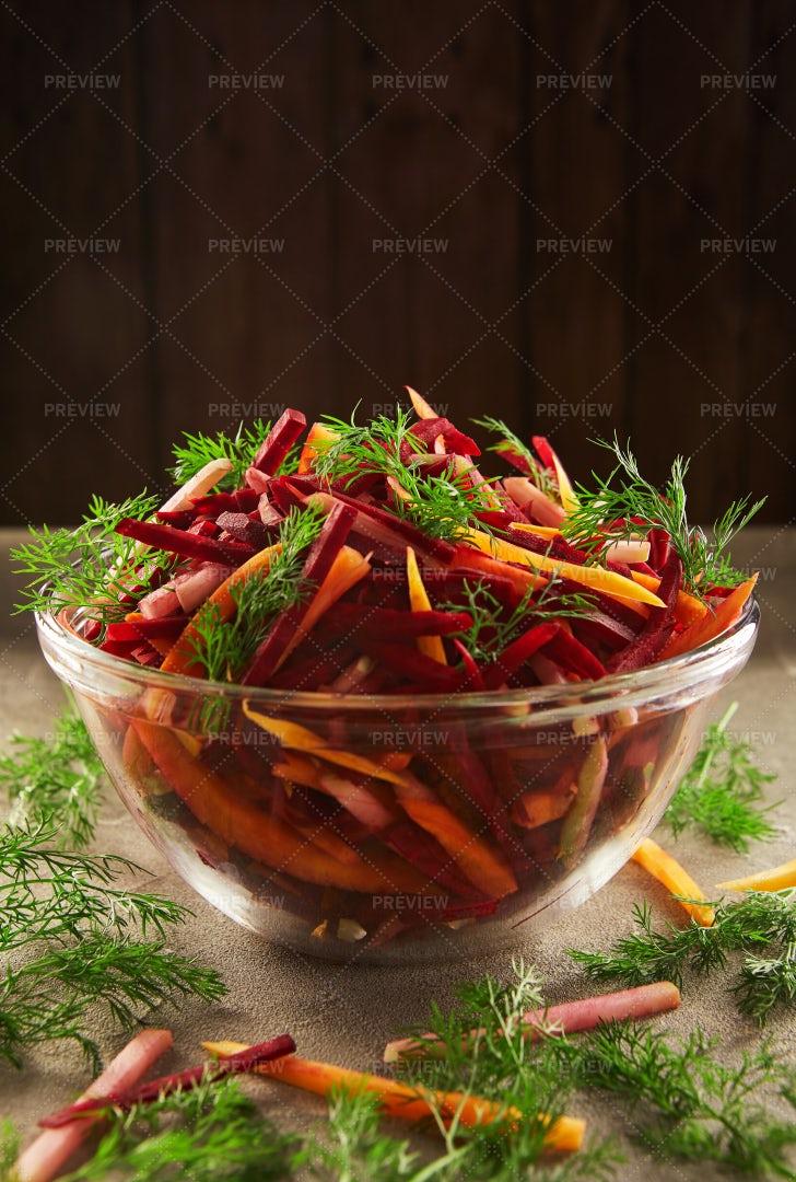 Salad In A Transparent Bowl: Stock Photos