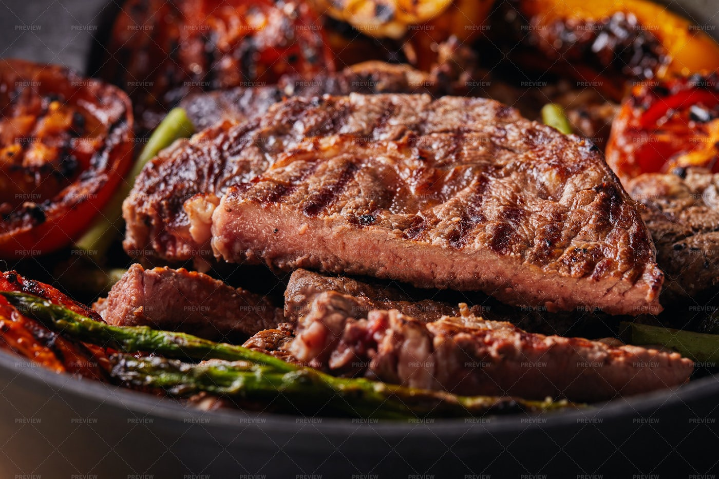 Grilled Beef Steak In A Black Pan: Stock Photos